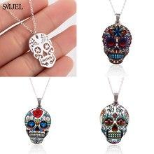 SMJEL – collier gothique avec pendentifs pour femmes, bijoux, crâne, squelette, Punk, Pirate, ras du cou, cadeau d'halloween, mexicain