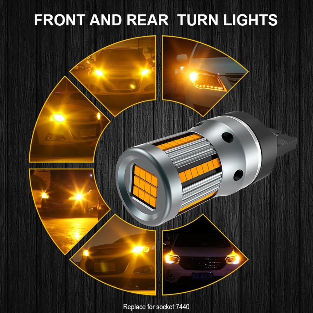 Image 5 - 2 個 T20 W21W WY21W 7440 7440NA Led ターン信号光電球 Can バスエラー無料いいえハイパーフラッシュアンバーイエロー p21W ba15s T25 3156信号ランプ   -