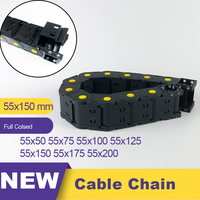 55*150 55x150 Transmission Cable Chain Drag Chain Nylon Plastic Towline Leaf Chain 55 Wire Carrier