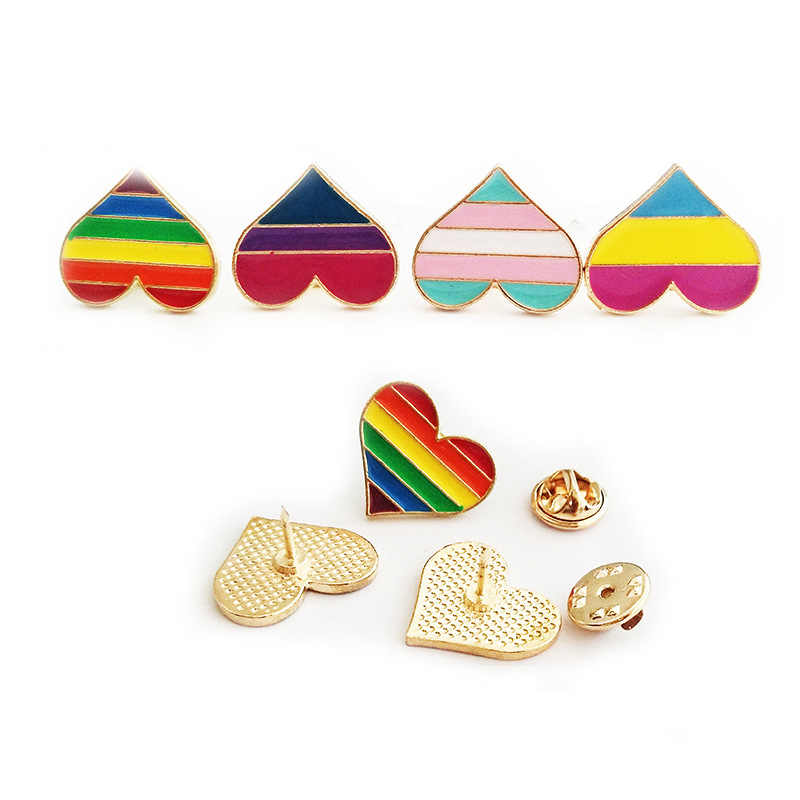 1PCs LGBT Pride Rainbow Heart Pinback Button Badge Gay Lesbian Symbol Pin Love Is Equal DIY Apparel Sewing Accessories 4 Colors