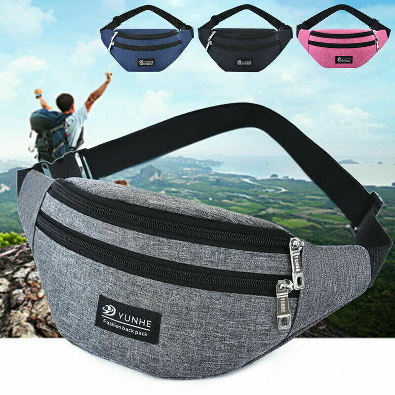 Galleria fotografica Unisex Waist Fanny Pack Bum Bag Coin Pouch Travel Sport Purse Satchel Small asual Waist Bag Fanny Pack Phone Key Cards with Belt