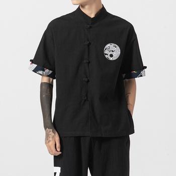 Tradycyjna chińska odzież dla mężczyzn strój Tang Hanfu chińska koszula styl Kung Fu ubrać bluzka Tai Chi jednolite chińskie góry 10686 tanie i dobre opinie Tangslady Linen Topy Sukno