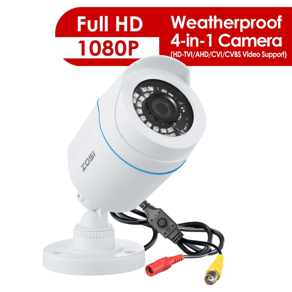 ZOSI 1080P 4-in-1 TVI AHD CVI CVBS Outdoor Video Surveillance HD Weatherproof 100ft Day Night Home CCTV Security Bullet Camera