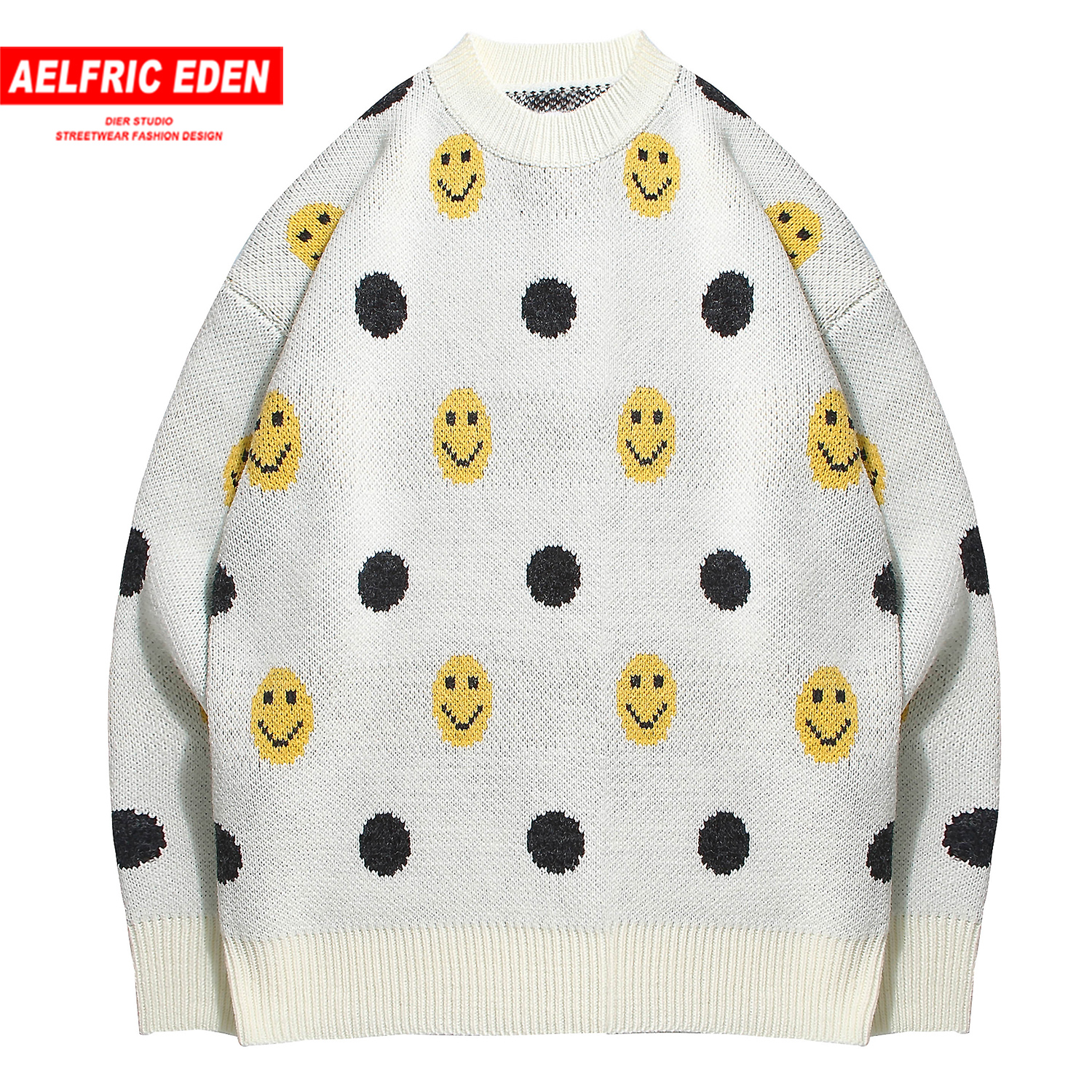 Aelfric Eden Vintage Fashion Funny Mens Knitted Pullover 2019 Harajuku Hip Hop Casual Oversized Male Sweaters Outwear Streetwear
