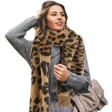 83x26 дюймов женский зимний шарф большого размера с леопардовым принтом теплая шаль с кисточками шарфы пончо платок