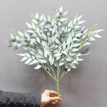Simulation leaf vine plant willow leaf wedding road layout plant silk screen cloth to arrange bunch willow leaf family layout seven silk cloth sunflowers in bunch stylish ornaments decorations yellow green