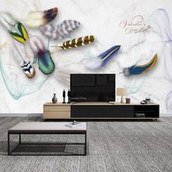 Модный Цвет Перо Ретро ТВ фон красивая элегантная, для гостиной прикроватная тумбочка спальня диван украшение Фреска