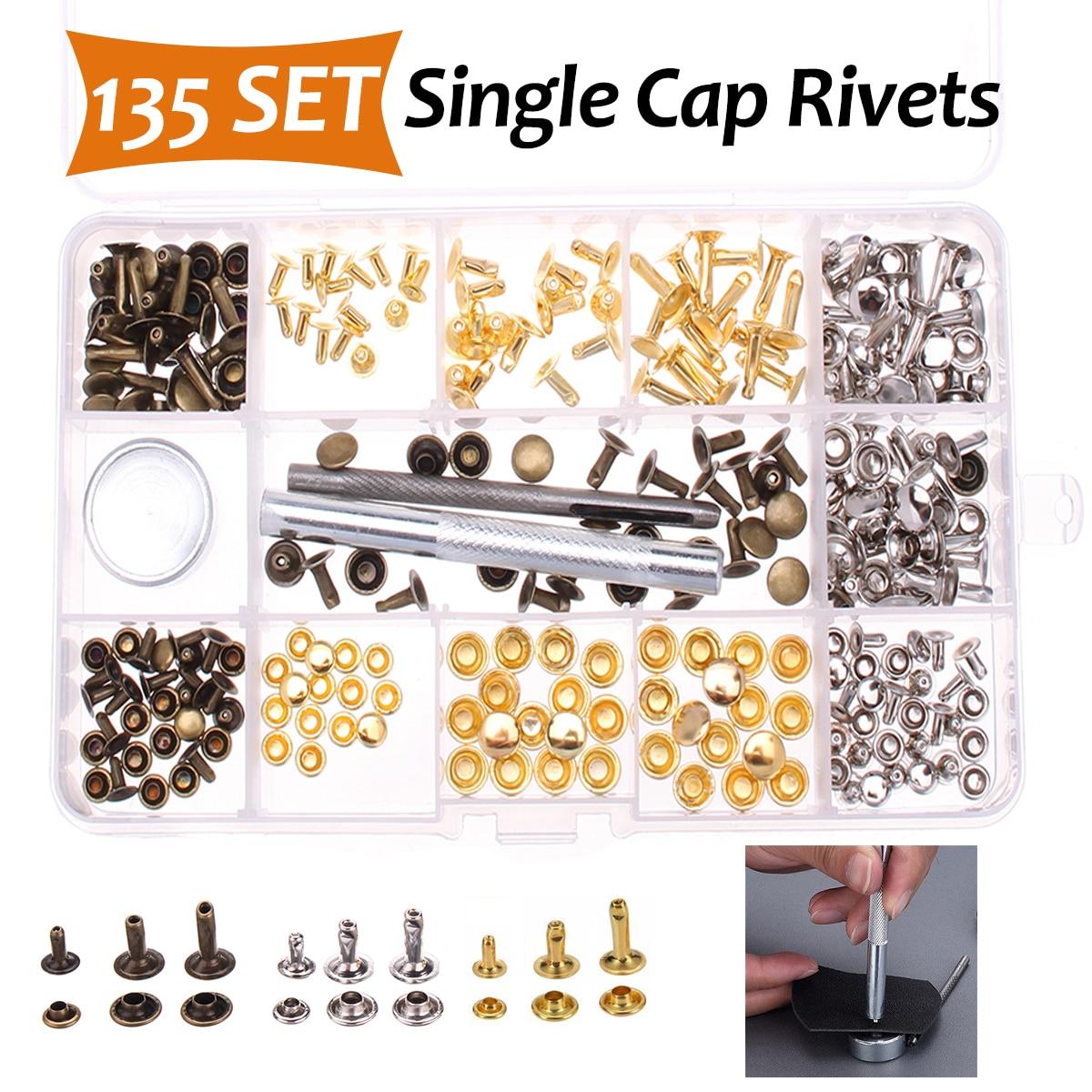138 Set Single Cap Rivet Tubular Metal Studs W/ Fixing Tool For Leather Craft Repairing Decor Leather Rivets 3 Colors 3 Sizes