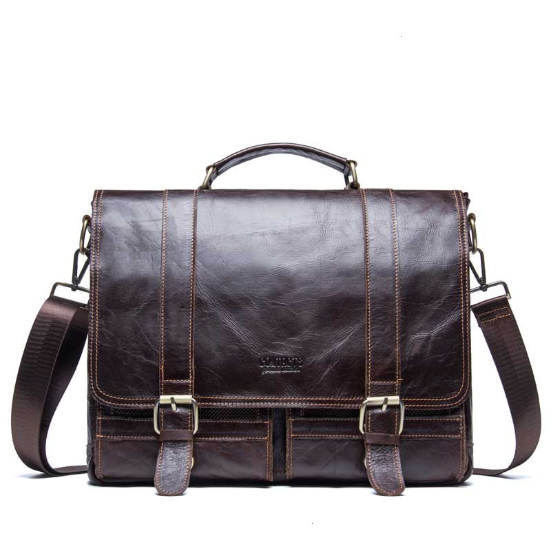 Genuine Leather Mens Briefcase Laptop Messenger Bags Leisure Time Business Affairs Document Layer Cowhide Man Diagonal Computer