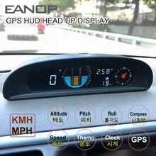 EANOP GH200 GPS HUD Head Up wyświetlacz 12V prędkościomierz do samochodu inklinometr Pitch motoryzacja napięcie kompas wysokość zegar