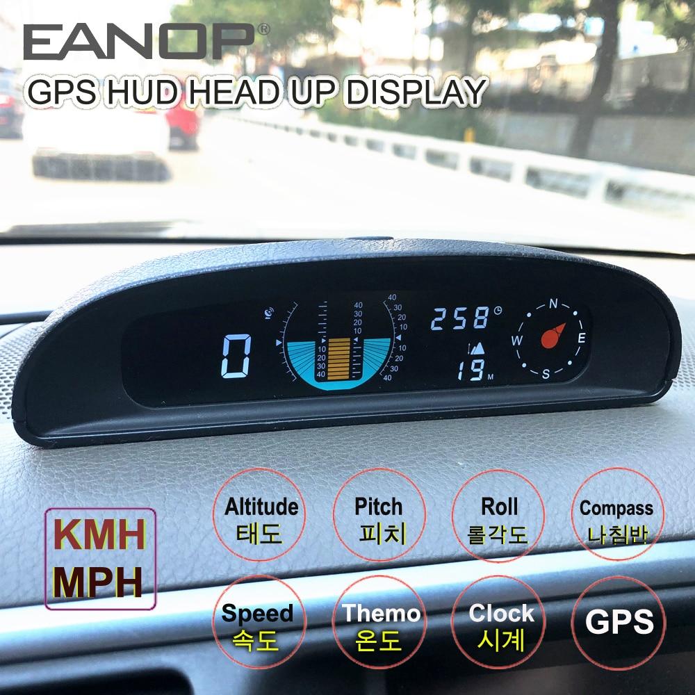 EANOP GH200 GPS HUD tête haute affichage voiture compteur de vitesse inclinomètre pas automobile tension boussole Altitude pour voitures universelles