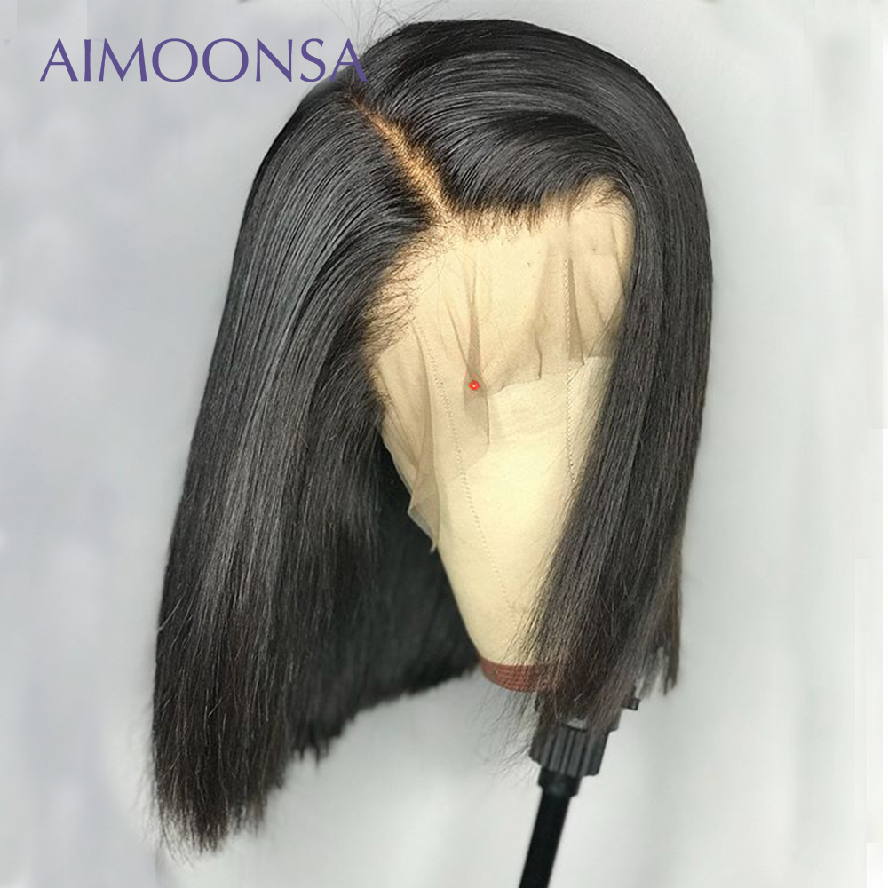 Undetectable Lace Wig Straight Lace Front Wig 150 Density Human Hair Bob Wigs Natural Hairline 13x6 Deep Part Remy Aimoonsa