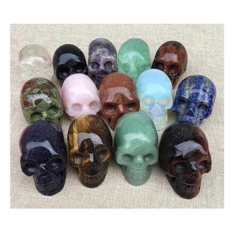 stone crafts hand craft skull decor Halloween accessories novel sculpture skull head stone <font><b>Andara</b></font> Obsidian HH Art Store image