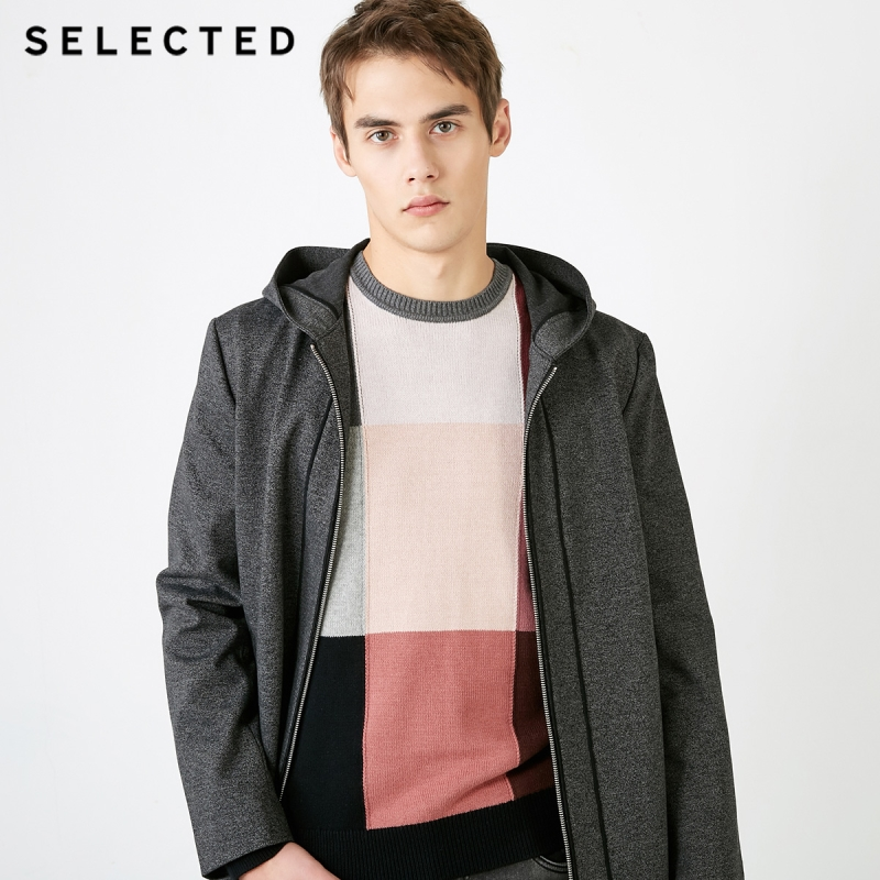 SELECTED Dark Stripe Spliced Windbreaker Jacket Mid-length Hooded Knit Outwear Coat S|4191OM506
