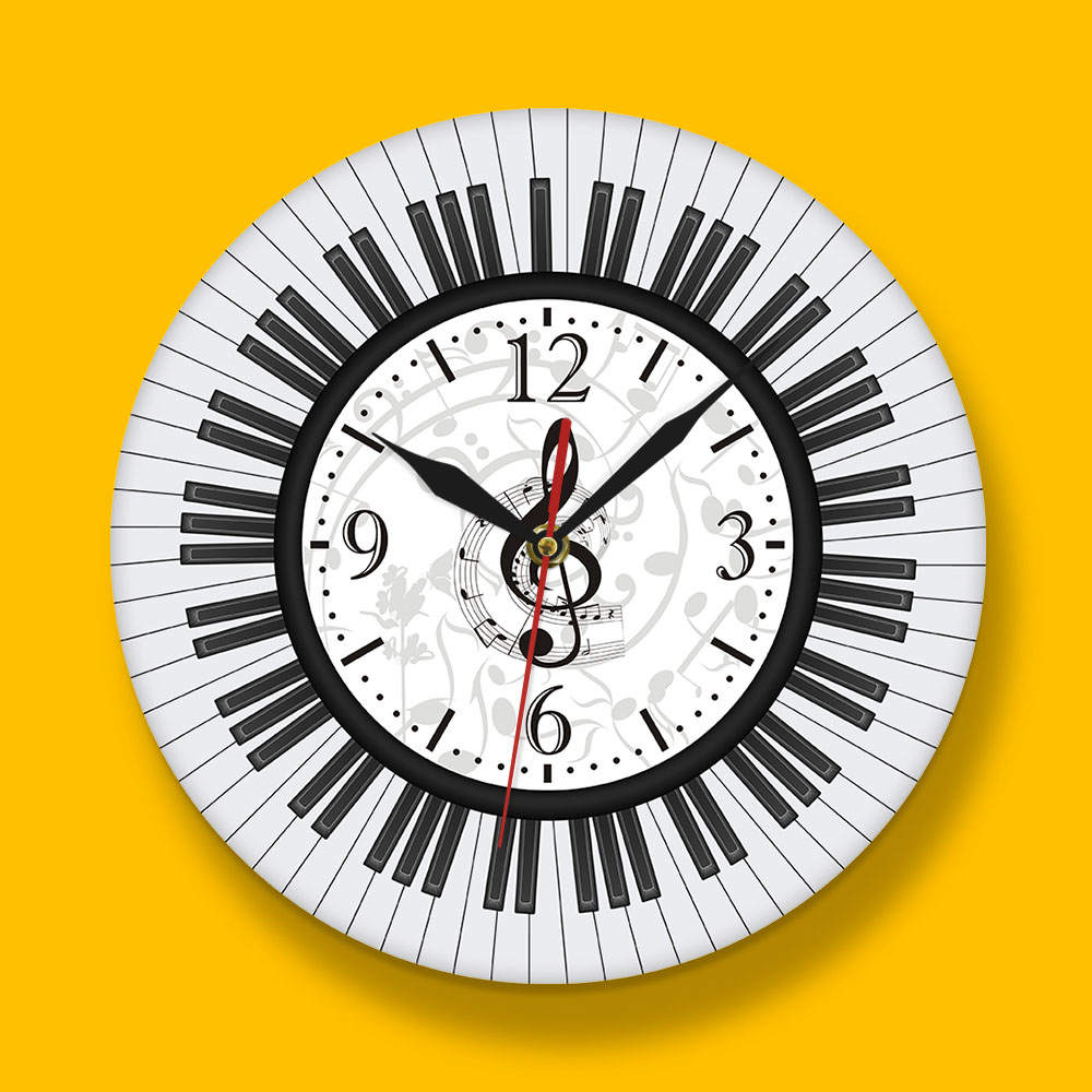 BLUE MUSIC NOTES WALL CLOCK PERSONALIZED GIFT MUSICIAN PIANO INSTRUMENT TEACHER