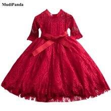 Детские платья для девочек Рождественская одежда кружевные вечерние