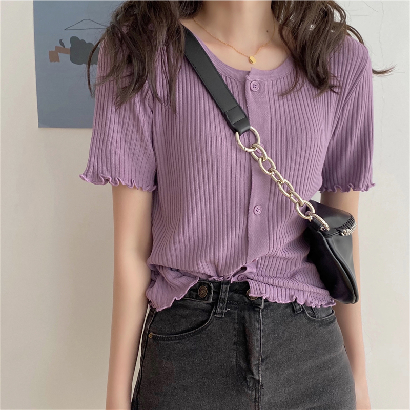 Новинка лета 2020, тонкие брюки с завышенной талией, трикотажная футболка с короткими рукавами, женская футболка из вискозы, фиолетового цвет...