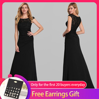 Elegant Black Evening Dresses Long Queen Abby A Line O neck Sleeveless Beaded Lace Formal Evening Gowns For Party