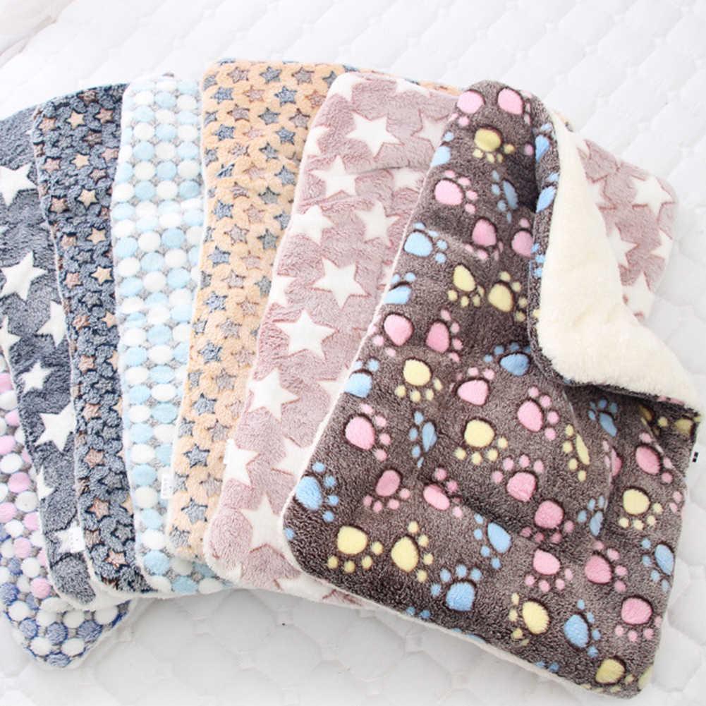 Animal de compagnie chien étoiles pattes lit tapis doux polaire couverture chaud sommeil coussin salon matelas étoile/griffe motif flanelle doux chaud