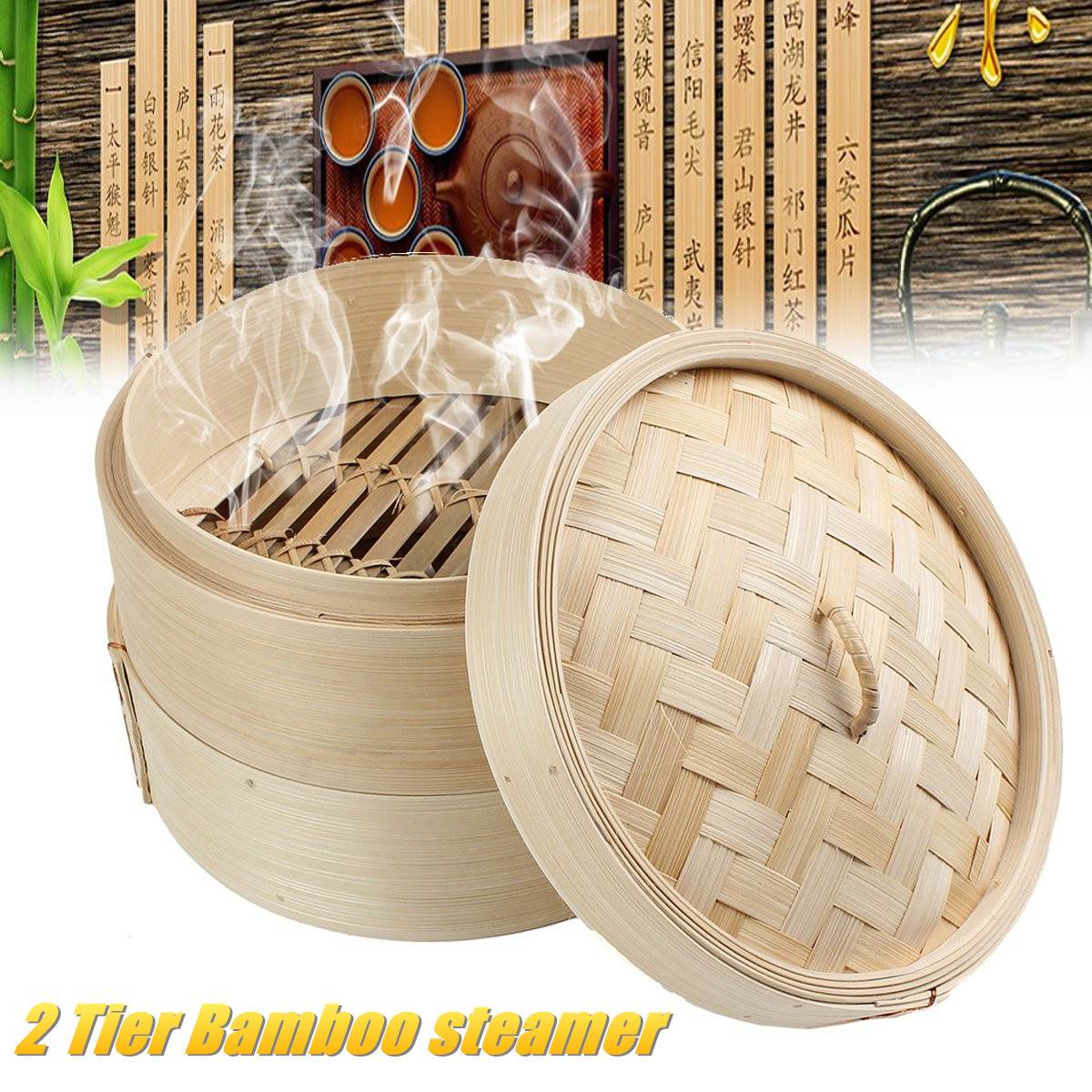 2 Tier 8-Inch Cooking Bamboo Steamer Fish Rice Vegetable Snack Basket Set Kitchen Cooking Tools Dumpling Steamer Steam Pot