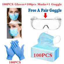 Spot sales 20/100Pcs Disposable Mask 3-layers +20/100pcs Blue Disposable Gloves+A Goggle 마스크 Protective Face Masks Blue/White(China)