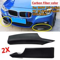 Pair Carbon Fiber Front Bumper Splitter Lip Flaps Spoiler For BMW F30 F35 Sedan W/ M Tech M Sport 2014 2015 2016 2017 2018 2019