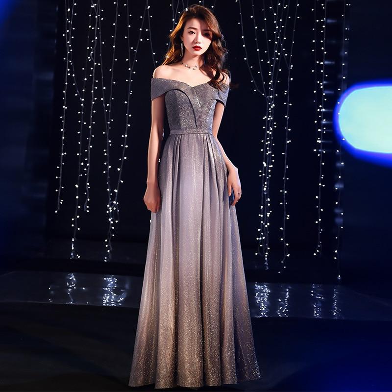 Cocktail Dress Vestido De Festa Gengli Grey  Banquet Evening Dress Women Long 2020 New Noble Elegant Grand Host