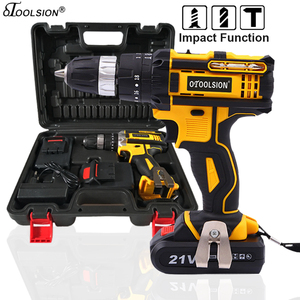New 21v Impact Electric Drill Variable Speed Impact Electric Screwdrivers 1500MAh Impact Cordless Drill Lithium Battery