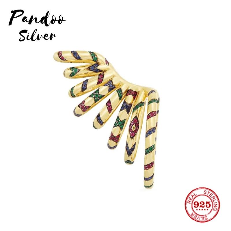Mode breloque en argent Sterling copie 1:1 copie, jaune déclaration multicolore Tribal coulissant Mono oreille manchette femmes luxe bijoux cadeau - 5