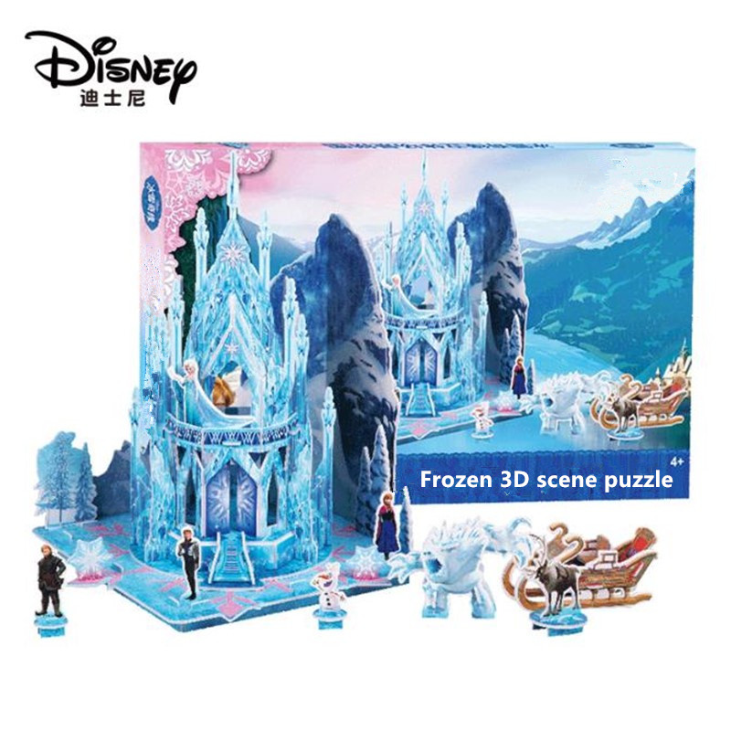 Hot Disney Frozen Palace 3D Dimensional Scene Puzzle Kids Educational Toy Birthday Party Gift High Quality
