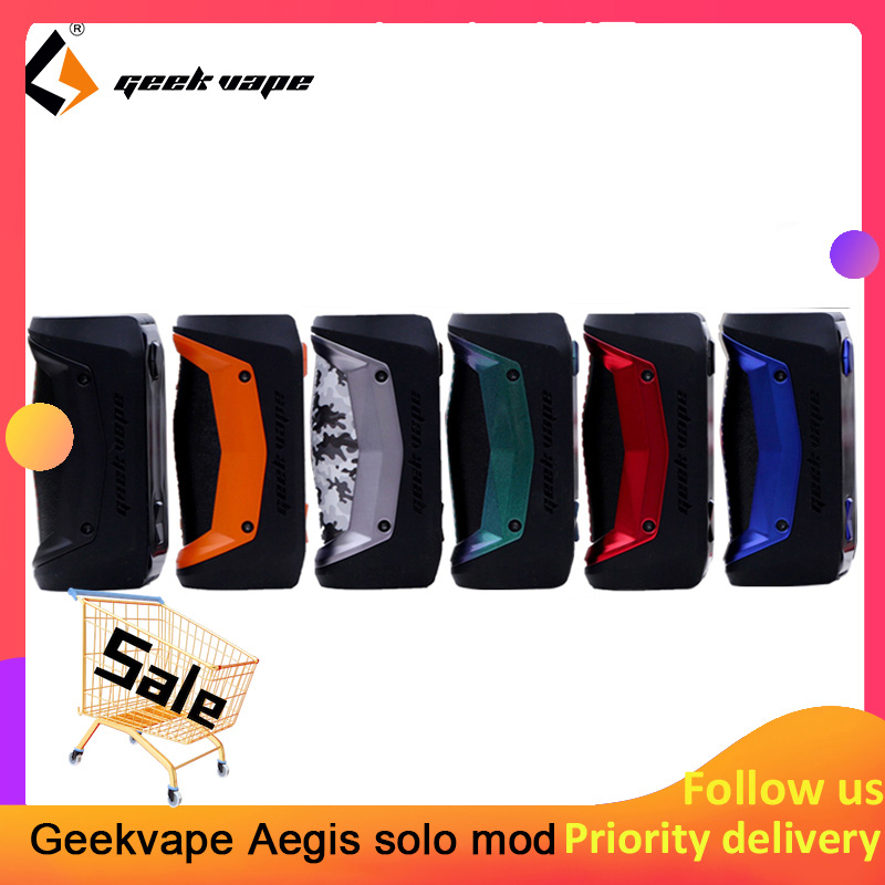 Original GeekVape Aegis Solo Mod 100W Vape Mod By 18650 Battery For Tengu RDA E Cigarette Fit 510 E Cigarette Box Mod