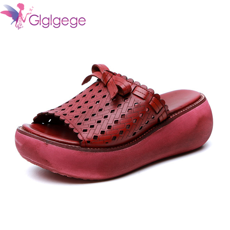 Hot Sale Glglge Summer New Style Genuine Leather Sandals Women's Retro Platform Shoes Round-toe Sandles Waterproof Platform Peep-Toe Shoe
