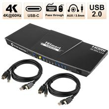 Type-C 4-Port HDMI KVM Switch with USB-C Input–4K 60Hz UHD-Audio Output and USB Sharing–4x1–3 HDMI inputs+1 Type-C