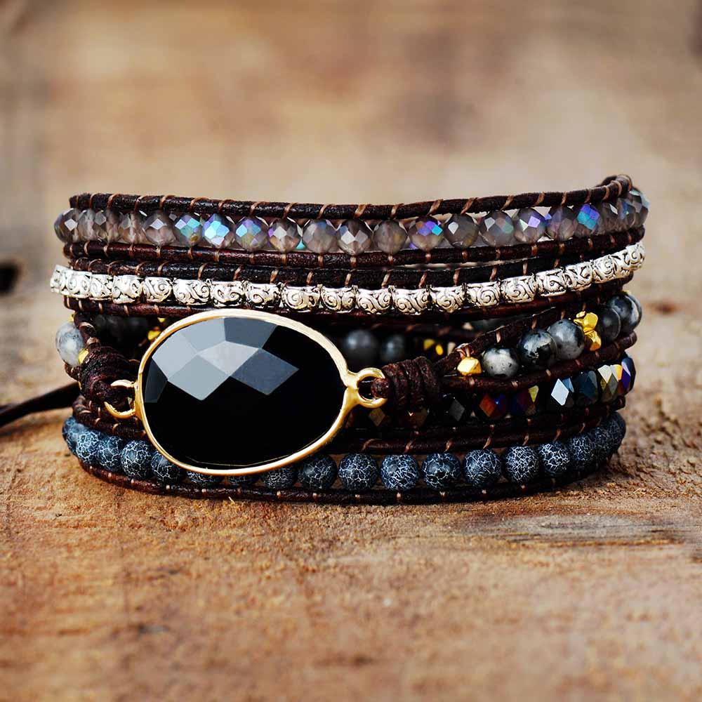 Native Inspired Designer Leather Bracelet Black Onyx Mix 5 Strands Woven Wrap Bracelets Bohemian Bracelet Dropship(China)