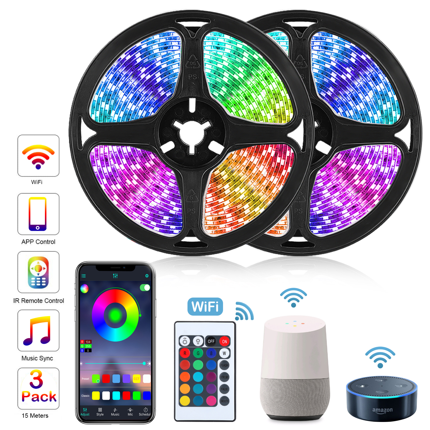 RGB LED Strip Light WIFI LED Lights Strip 12V RGB Tape LED Ribbon SMD 5050 Neon Strip Bluetooth Diode Tape BackLight for Room TV