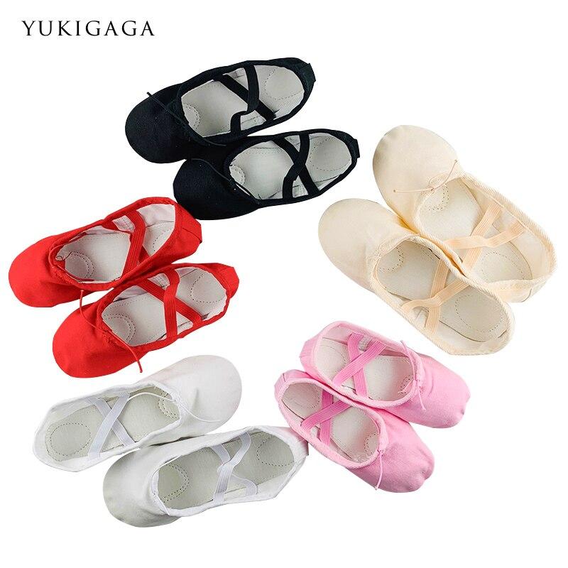 Yoga Slippers Gym Teacher Yoga Ballet Dance Shoes For Girls Women Ballet Shoes Canvas Kids Children Pink Red Black Nude White