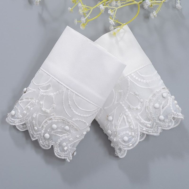 Korean Navy Style Women Decorative Sleeve False Cuffs Wavy Embroidery Lace Beading Embellished Detachable Accessories