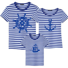 Family Look Striped Summer Short-sleeve T-shirt Matching Family Clothing Outfits Mother Daughter Father Son Baby Clothes Sailor family matching clothes summer fashion mother daughter dress father son short sleeve cotton tshirt patchwork striped family look