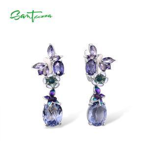 Image 1 - Женские серебряные серьги SANTUZZA, фиолетовые серьги подвески с бабочками из стерлингового серебра 925 пробы с кубическим цирконием, модные ювелирные изделия