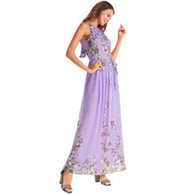 Frühling Neue Boho Frauen Chiffon Kleider Printting Sleeveless Halter 2020 Sommer Party Kleid vestidos de playa Tops LX1605(China)