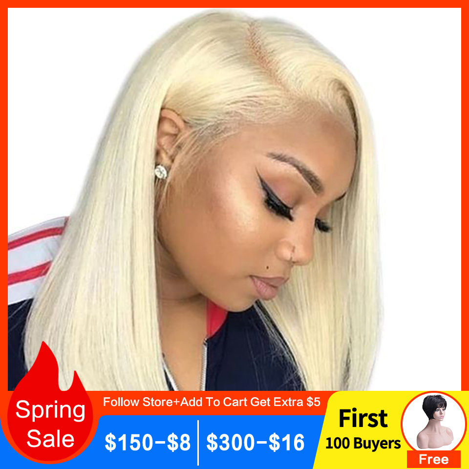 Bob Lace Front Wigs Human Hair 13X4 Pre Plucked 613 Blonde Short Bob Wigs For Black Women Remy 150% Densty