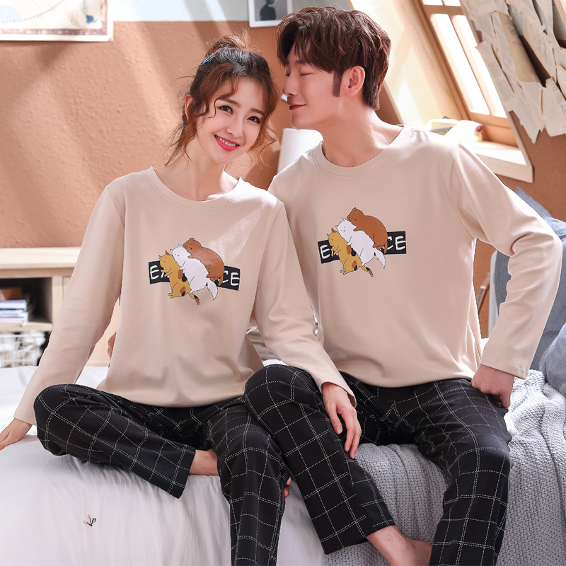 Couple Pajamas Suit Sleepwear Nightie Cotton Pants Plaid Male New for Clothing Casual title=