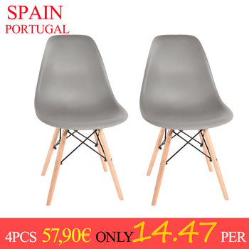 Spain Stock Wooden Dinner Chair Modern Nordic Dining Room Set Table Home Office Design White Grey 1-2 delivery days