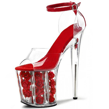 20cm super high-heeled stiletto with rose flower red wedding shoes waterproof table crystal one-word button women's shoes