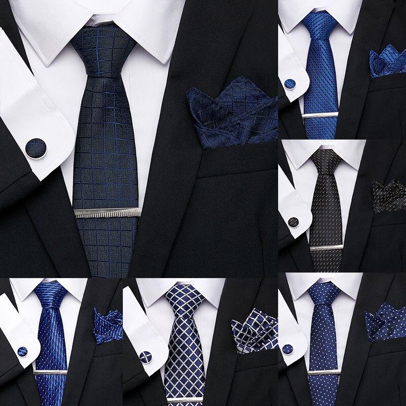 Luxury 7.5cm Men's Tie Clip Cuffink Handkerchief Tie Set Polyester Jacquard 100% Silk Tie Floral Necktie Wedding Party Mens Ties
