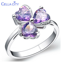 Cellacity Trendy Design Style Amethyst Ruby Aquamarine Ring for Women Silver 925 Jewelry Heart shaped Gemstones Clover Dating