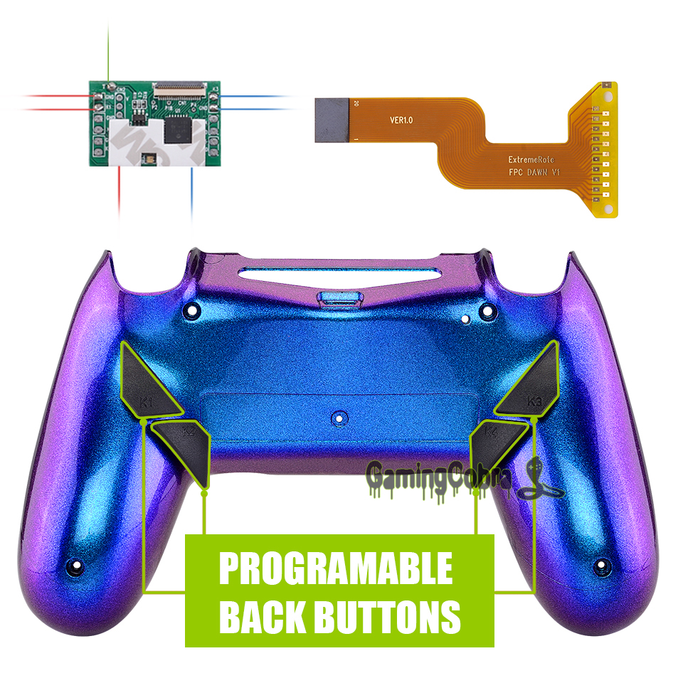 Chameleon Purple Blue Dawn Programable Remap Kit for PS4 Slim Pro Controller <font><b>JDM</b></font> 040/050/<font><b>055</b></font> w/ Back <font><b>Shell</b></font> & 4 Back Buttons image