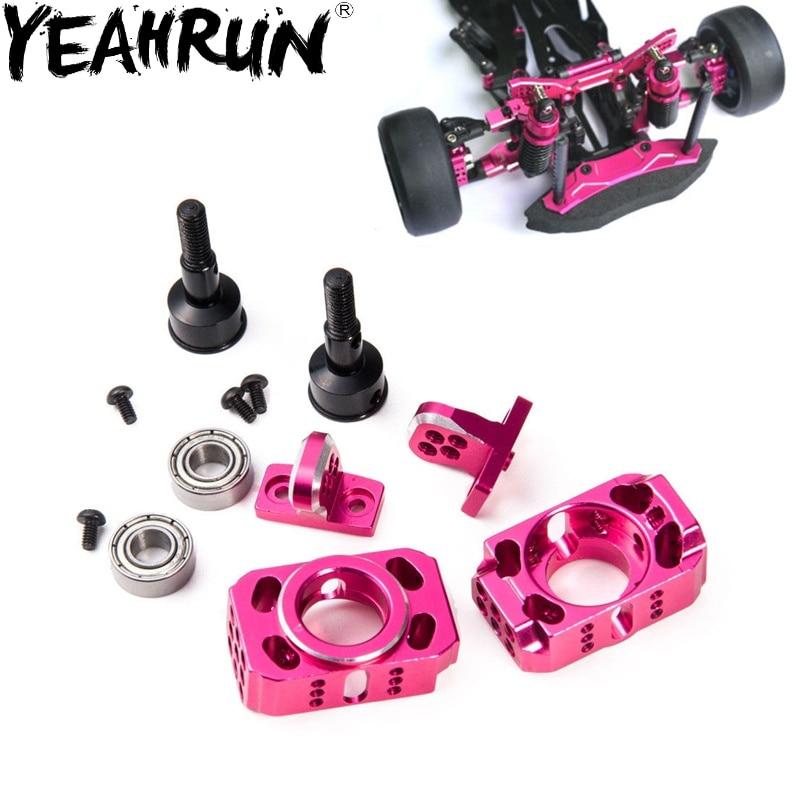 YEAHRUN Aluminum Adjustable Steering Suspension Knuckle Kit For RC Sakura D4 AWD RWD