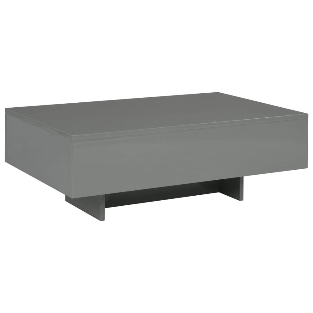 【USA Warehouse】Coffee Table High Gloss Gray 33.5