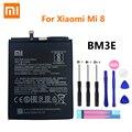 100% Оригинальный Xiao Mi аккумулятор для телефона BM3E для Xiaomi Xiaomi8 Mi 8 Mi8 M8 настоящий аккумулятор 3400 мАч высокого качества + Бесплатные инструменты